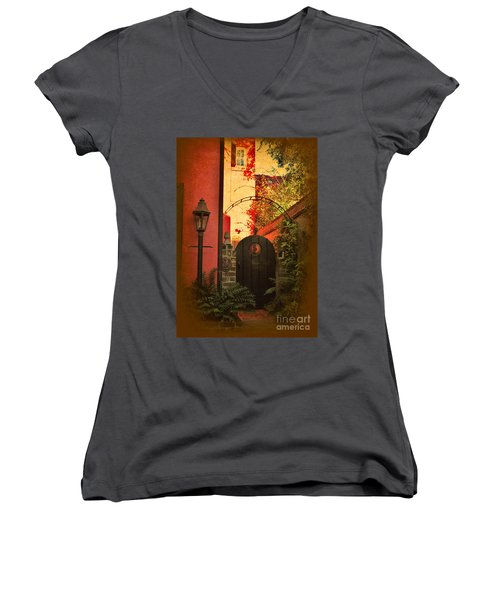 Women's V-Neck T-Shirt (Junior Cut) featuring the photograph Charleston Garden Entrance by Kathy Baccari