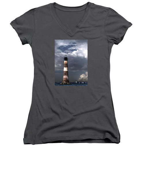 Charleston Lights Women's V-Neck T-Shirt (Junior Cut) by Skip Willits