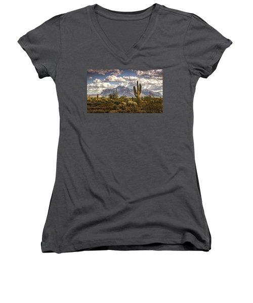 Chasing Clouds Two  Women's V-Neck T-Shirt (Junior Cut) by Saija  Lehtonen