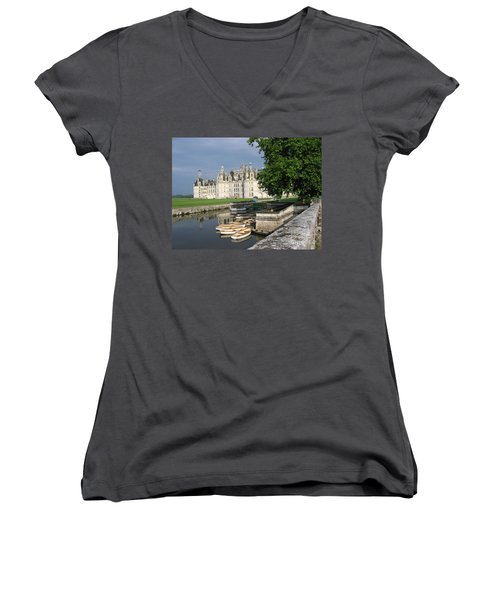 Women's V-Neck T-Shirt (Junior Cut) featuring the photograph Chateau Chambord Boating by HEVi FineArt