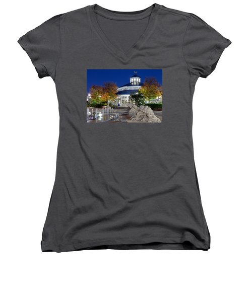 Chattanooga Park At Night Women's V-Neck (Athletic Fit)