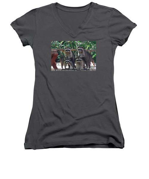 Cheerleading Raccoons Women's V-Neck T-Shirt (Junior Cut) by Kym Backland