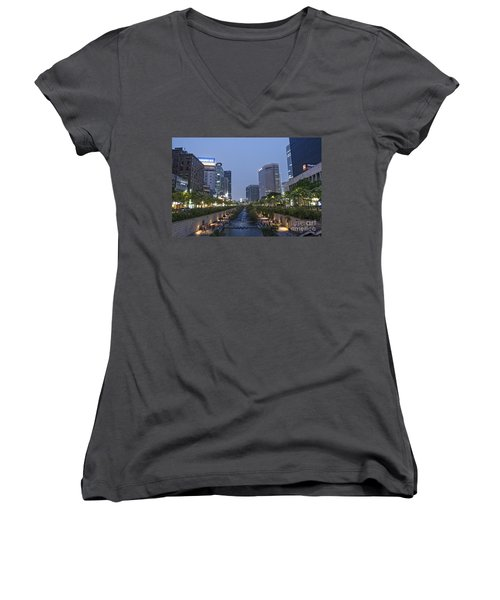Cheonggyecheon Stream In Seoul South Korea Women's V-Neck (Athletic Fit)