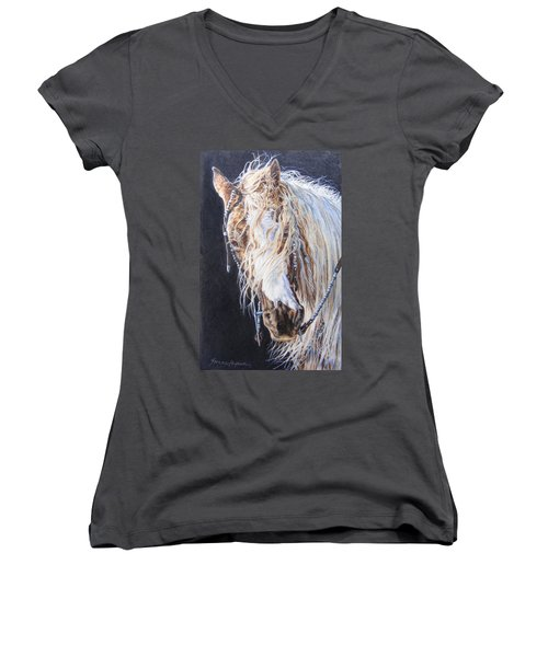 Cherokee Rose Gypsy Horse Women's V-Neck (Athletic Fit)