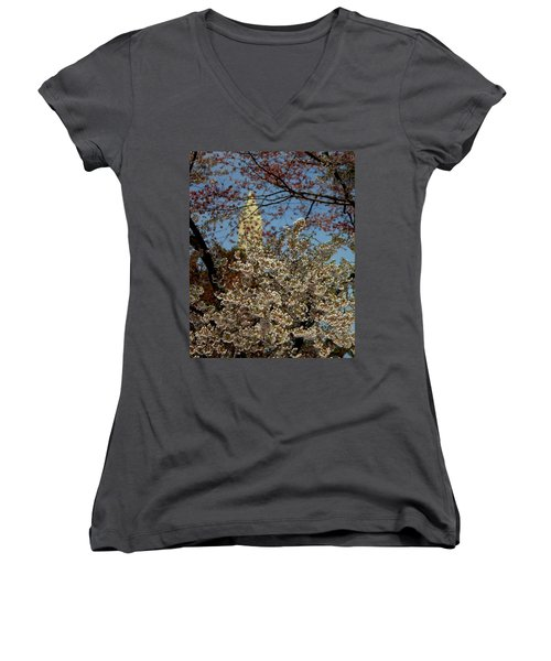 Cherry Blossoms And The Monument Women's V-Neck