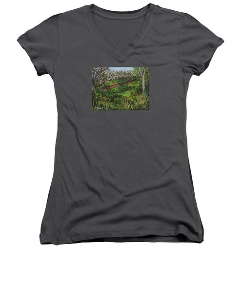 Cherry Orchard Evening Women's V-Neck T-Shirt (Junior Cut) by Madonna Siles