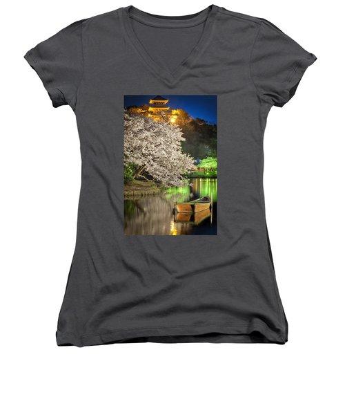 Cherry Blossom Temple Boat Women's V-Neck T-Shirt (Junior Cut) by John Swartz