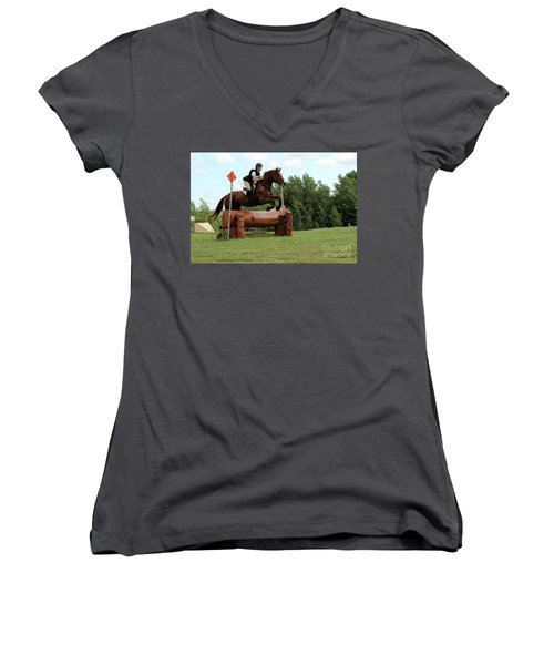 Chestnut Over Log Jump Women's V-Neck (Athletic Fit)