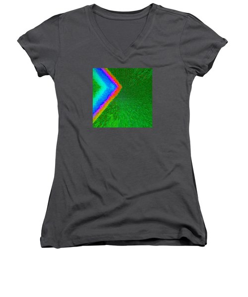 Women's V-Neck T-Shirt (Junior Cut) featuring the painting Chevron Rainbow C2014 by Paul Ashby