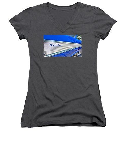 Women's V-Neck T-Shirt (Junior Cut) featuring the photograph Chevy Bel Air by Jason Abando