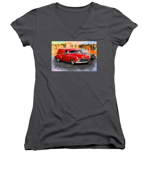 Women's V-Neck T-Shirt (Junior Cut) featuring the mixed media Chevy Street Rod by Aaron Berg