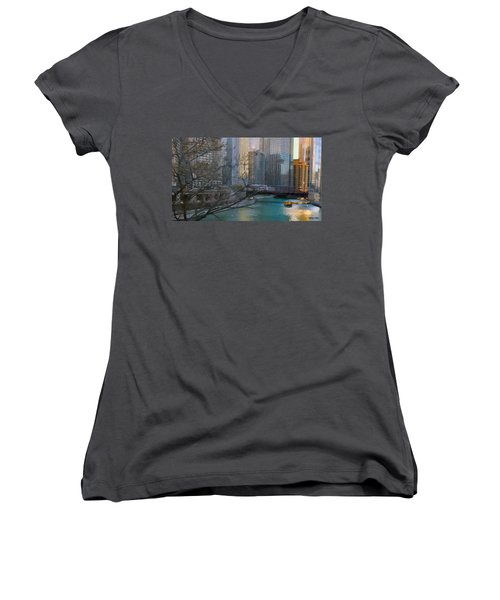 Chicago River Sunset Women's V-Neck T-Shirt (Junior Cut) by Jeff Kolker