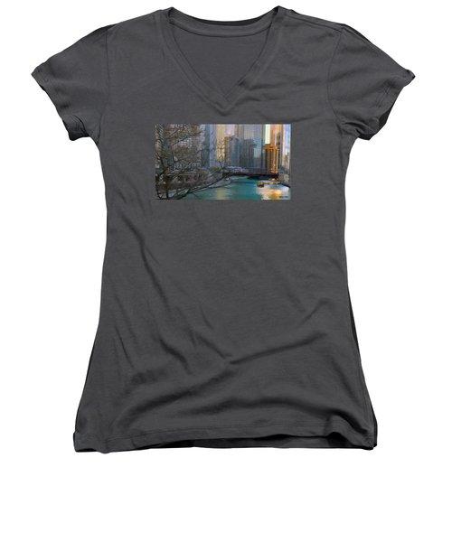 Chicago River Sunset Women's V-Neck T-Shirt