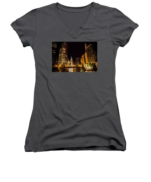 Chicago Riverwalk Women's V-Neck T-Shirt (Junior Cut) by Melinda Ledsome