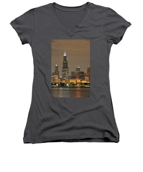 Chicago Skyline At Night Women's V-Neck T-Shirt (Junior Cut) by Sebastian Musial