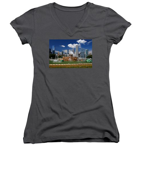 Chicago Skyline Grant Park Fountain Clouds Women's V-Neck