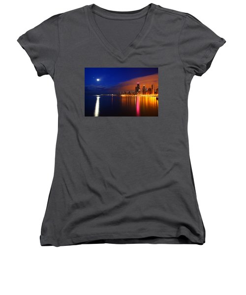 Chicago Skyline Moonlight Women's V-Neck
