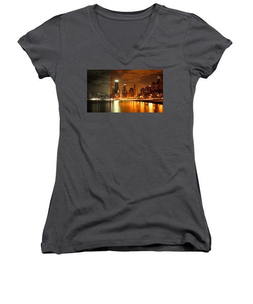 Chicago Skyline Night Amber Women's V-Neck
