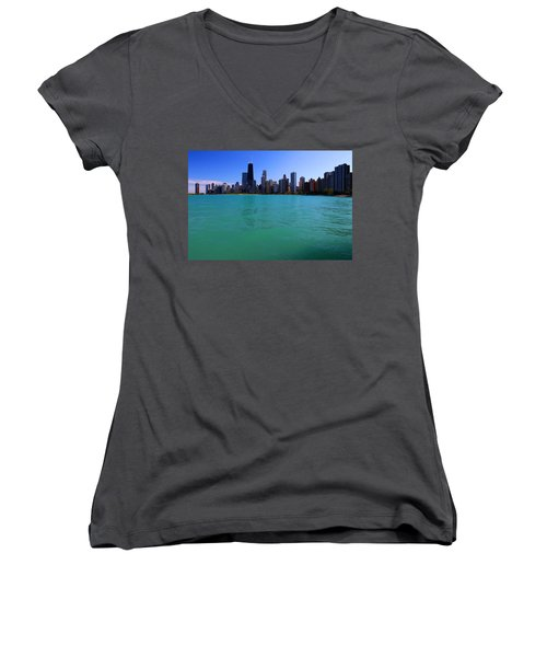 Chicago Skyline Teal Water Women's V-Neck