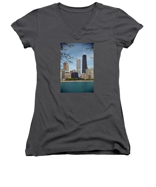 Chicago Spring Women's V-Neck T-Shirt (Junior Cut) by Lawrence Boothby