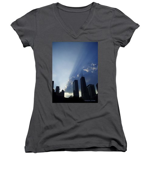 Chicago Sunset Women's V-Neck T-Shirt (Junior Cut) by Verana Stark