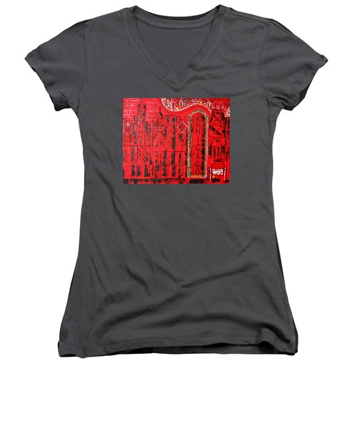 Chicago Theater Women's V-Neck T-Shirt (Junior Cut) by George Riney