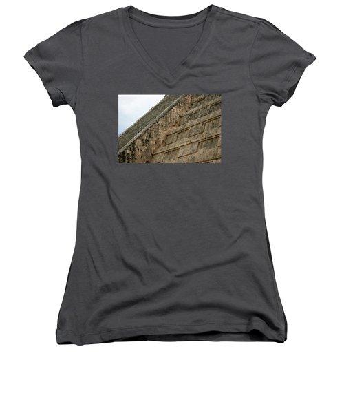 Women's V-Neck T-Shirt (Junior Cut) featuring the photograph Chichen Itza by Silvia Bruno
