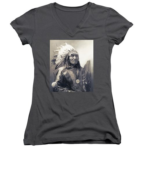 Chief He Dog Of The Sioux Nation  C. 1900 Women's V-Neck T-Shirt (Junior Cut) by Daniel Hagerman