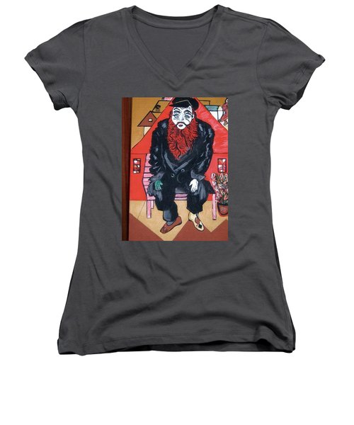 Women's V-Neck T-Shirt (Junior Cut) featuring the painting Chigall By Nora by Nora Shepley