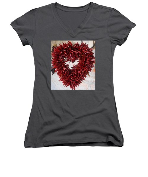 Women's V-Neck T-Shirt (Junior Cut) featuring the photograph Chili Pepper Heart by Kerri Mortenson