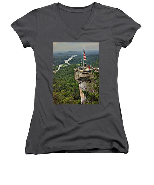 Women's V-Neck T-Shirt (Junior Cut) featuring the photograph Chimney Rock Overlook by Alex Grichenko