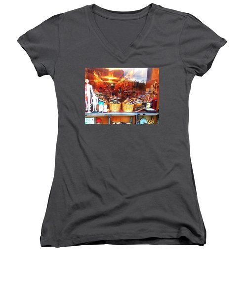 Women's V-Neck T-Shirt (Junior Cut) featuring the photograph Chinatown Nyc Herb Shop by Joan Reese