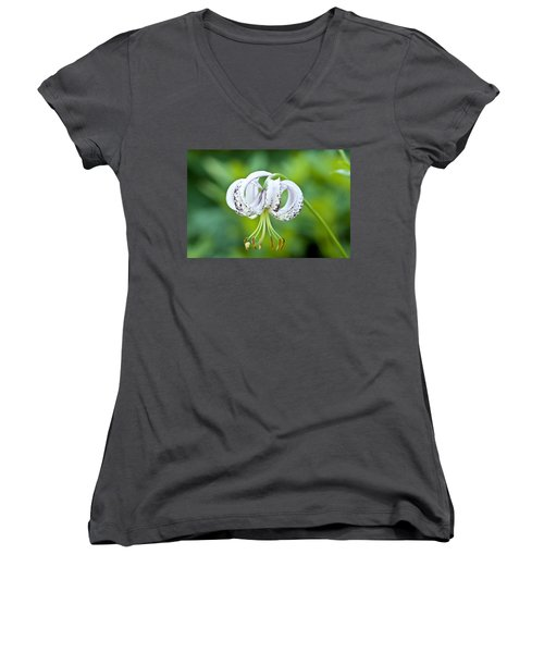 Women's V-Neck T-Shirt (Junior Cut) featuring the photograph Chinese Lily by Lana Enderle