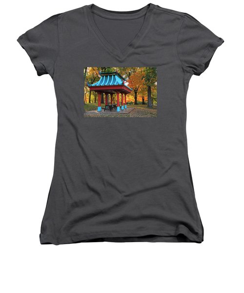 Chinese Shelter In Autumn Women's V-Neck (Athletic Fit)