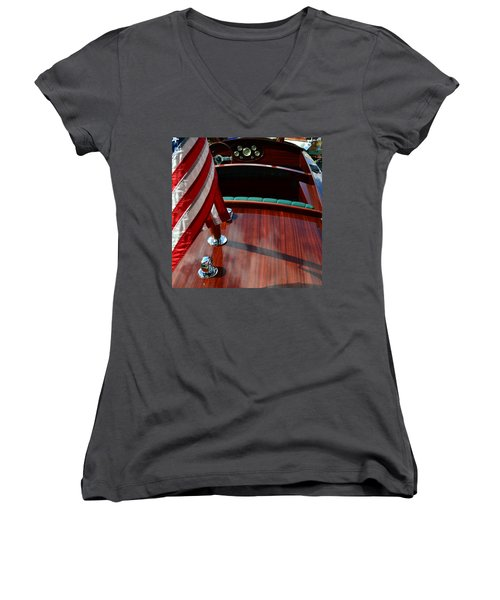 Chris Craft With Flag And Steering Wheel Women's V-Neck