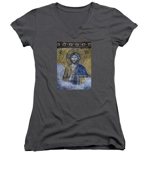 Christ Pantocrator IIi Women's V-Neck (Athletic Fit)