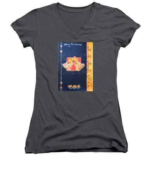 Christmas Bells Women's V-Neck T-Shirt (Junior Cut) by Magdalena Frohnsdorff