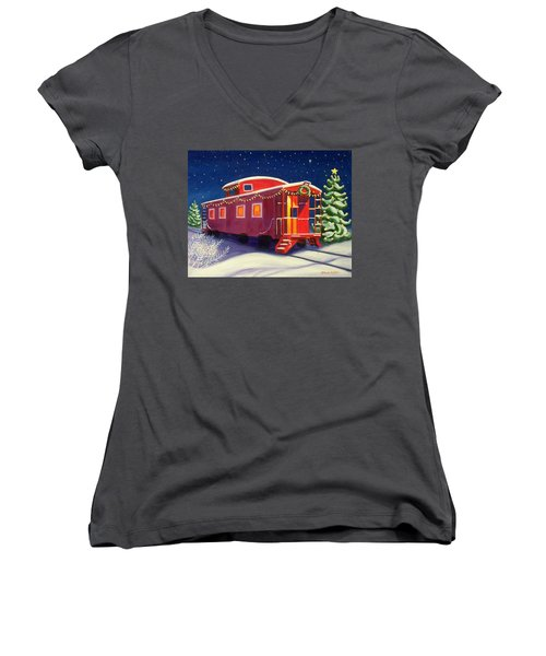 Christmas Caboose Women's V-Neck (Athletic Fit)