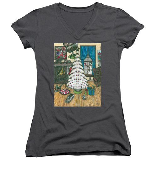 Christmas Card Drawing Women's V-Neck (Athletic Fit)