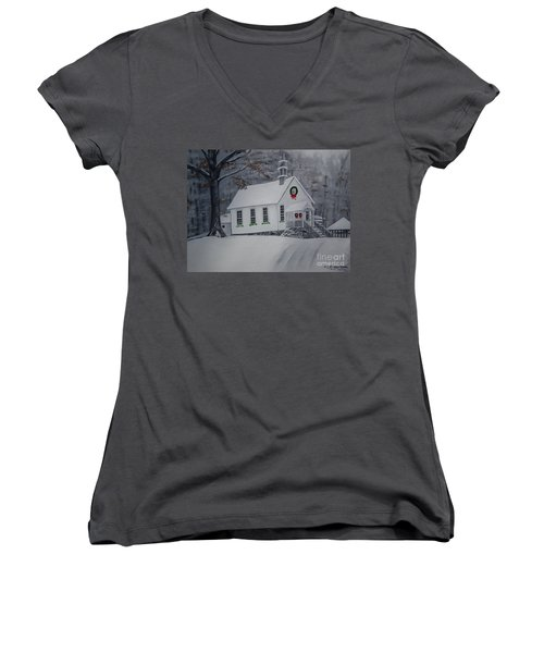 Women's V-Neck T-Shirt (Junior Cut) featuring the painting Christmas Card - Snow - Gates Chapel by Jan Dappen