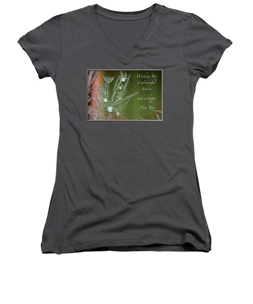Women's V-Neck T-Shirt (Junior Cut) featuring the mixed media Christmas Greeting Card Ice Flowers by Peter v Quenter