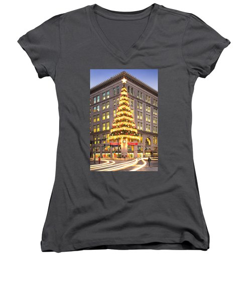 Christmas In Pittsburgh  Women's V-Neck T-Shirt (Junior Cut) by Emmanuel Panagiotakis