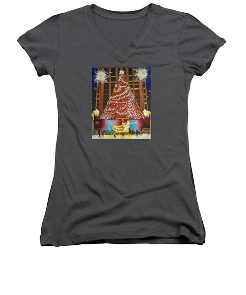 Christmas In The City Women's V-Neck (Athletic Fit)