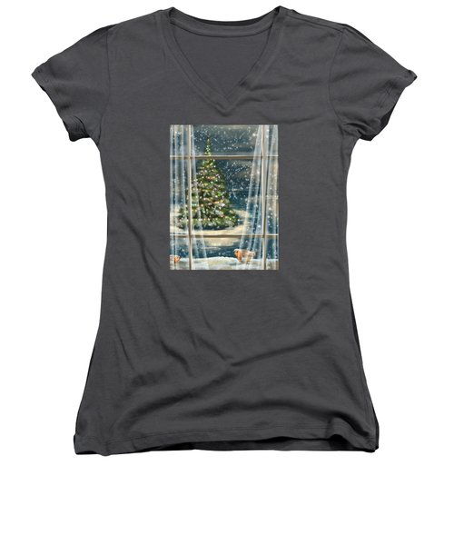 Christmas Night Women's V-Neck T-Shirt (Junior Cut) by Veronica Minozzi