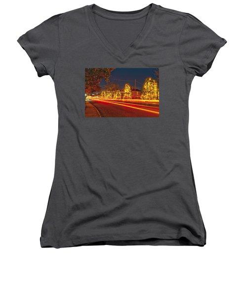 Women's V-Neck T-Shirt (Junior Cut) featuring the photograph Christmas Town Usa by Alex Grichenko