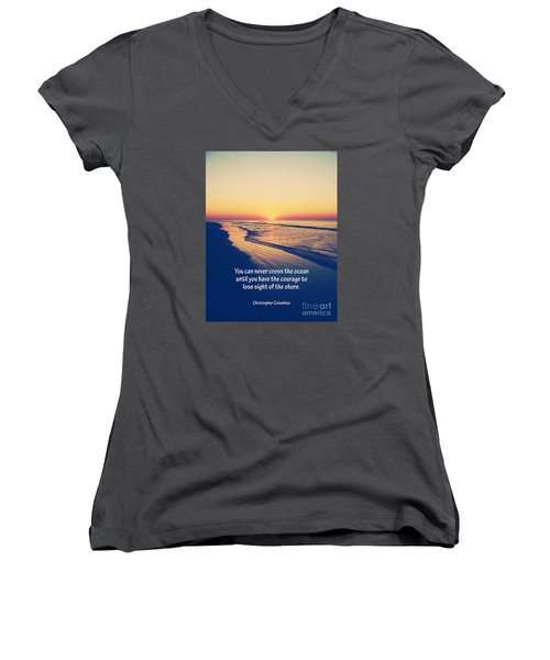 Christopher Columbus Quote Women's V-Neck