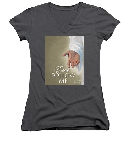 Christ's Hand Women's V-Neck T-Shirt (Junior Cut) by Rob Corsetti