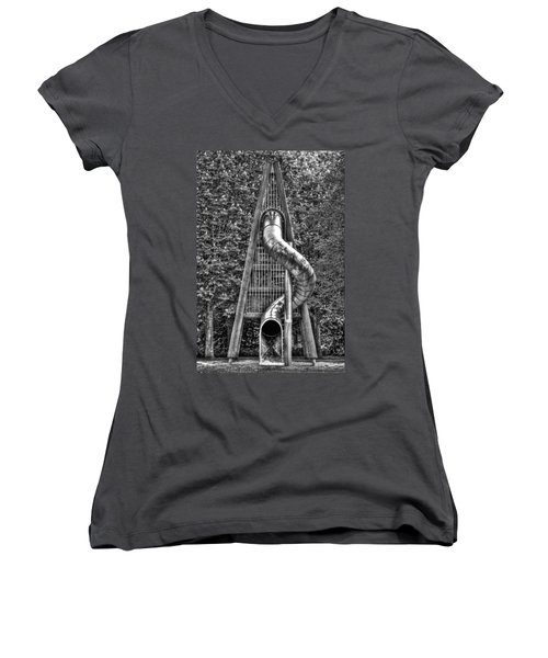 Chromium Slide Women's V-Neck T-Shirt (Junior Cut) by Semmick Photo