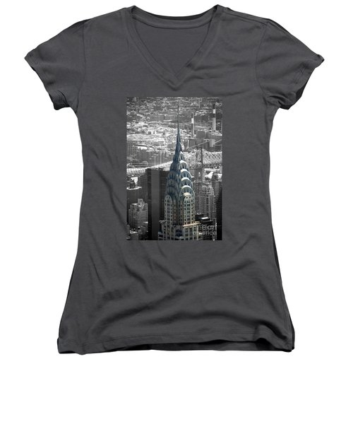 Chrysler Building Women's V-Neck T-Shirt (Junior Cut) by Angela DeFrias