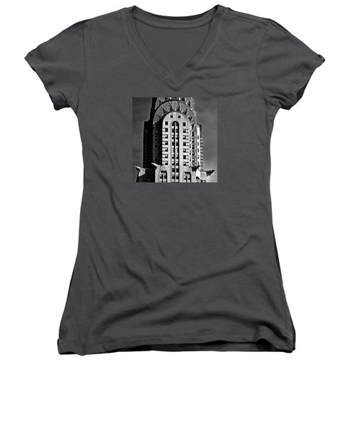 Chrysler Building Women's V-Neck (Athletic Fit)